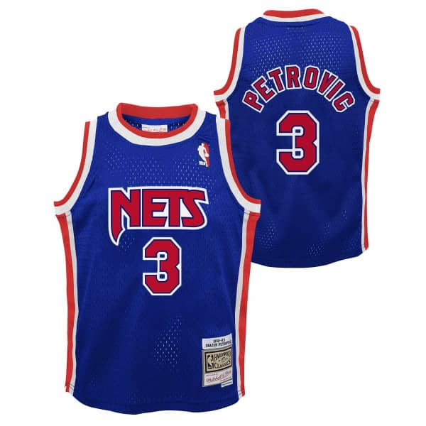 Dražen Petrović #3 New Jersey Nets 1992-93 Youth Swingman NBA Trikot Blau (KINDER)