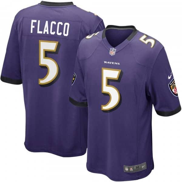 Joe Flacco #5 Baltimore Ravens Game Football NFL Trikot Lila