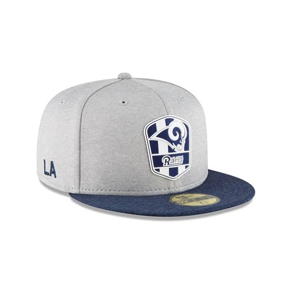 Los Angeles Rams 2018 NFL Sideline 59FIFTY Fitted Cap Road