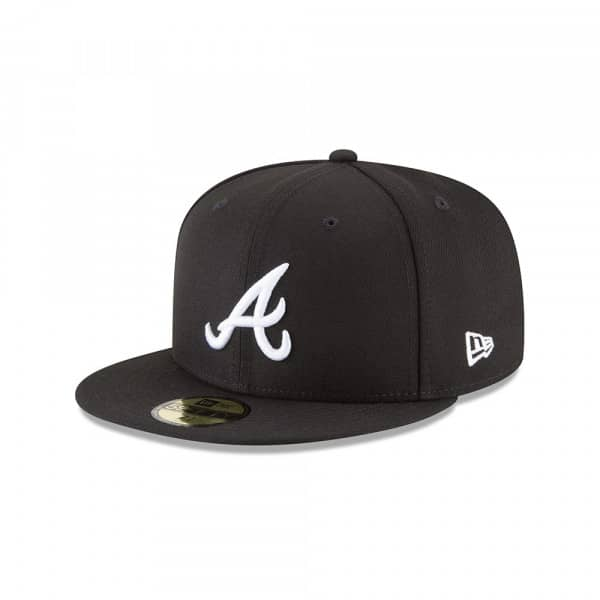 Atlanta Braves Black & White 59FIFTY Fitted MLB Cap