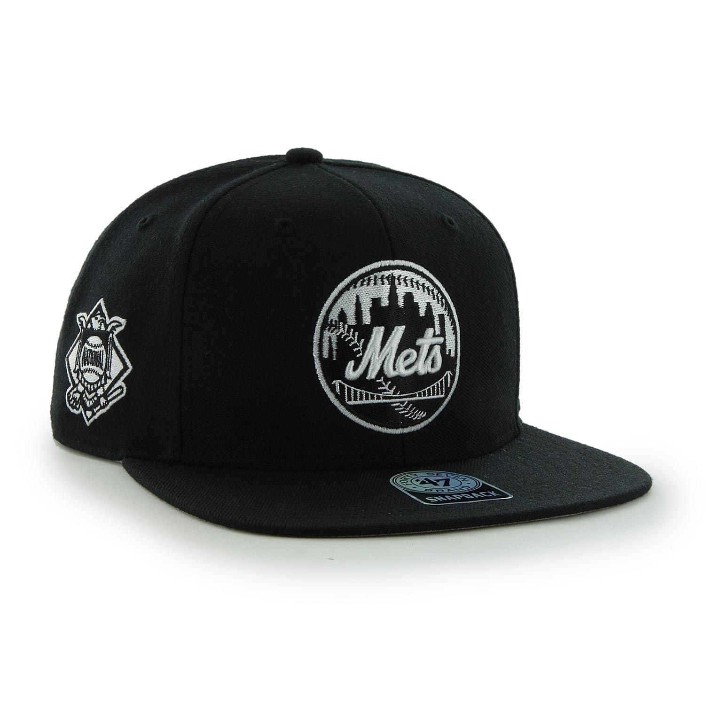 47 Brand New York Mets Black   White Sure Shot Snapback MLB Cap ... eadfc064e59c