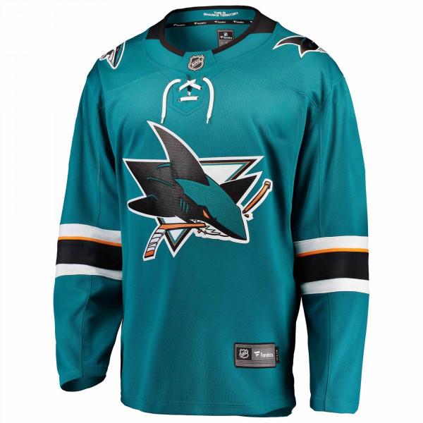 wholesale dealer 604d4 568a6 Fanatics San Jose Sharks Breakaway NHL Jersey Home Aqua   TAASS.com Fan Shop