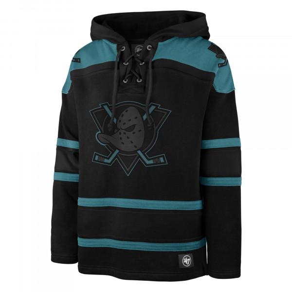 Anaheim Ducks Black '47 Superior Lacer Jersey Hoodie NHL Sweatshirt