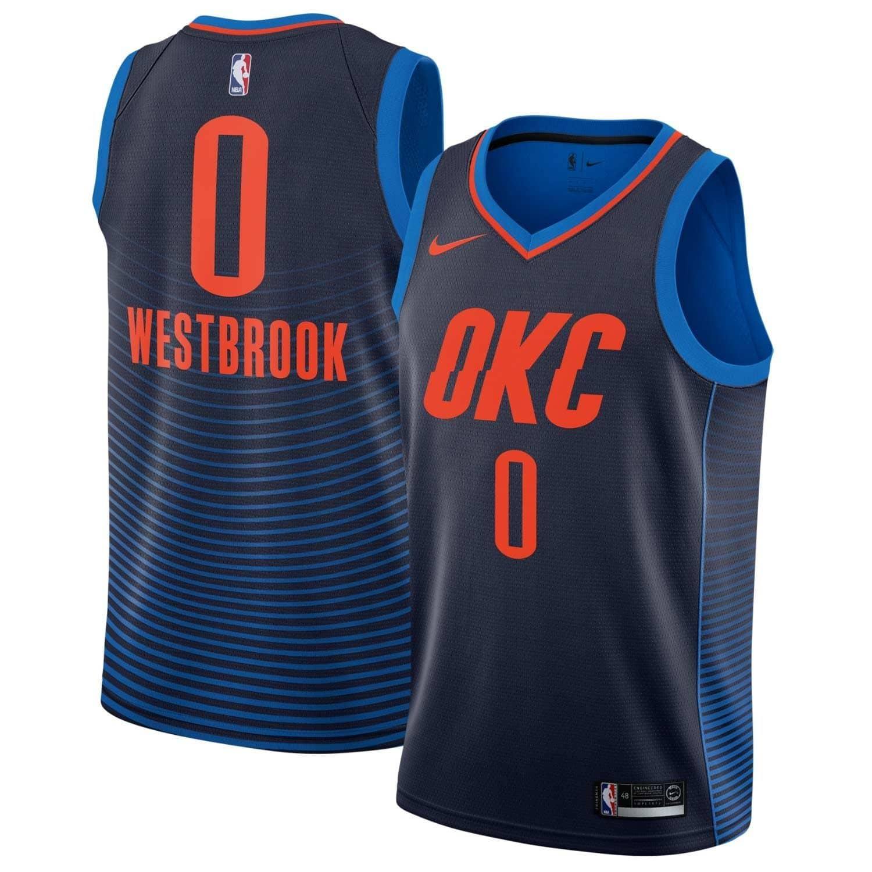 1d2c121bca7 Nike Russell Westbrook #0 Oklahoma City Thunder Statement Swingman NBA  Jersey Navy | TAASS.com Fan Shop