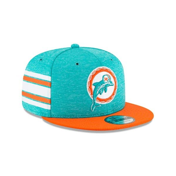 5da426c04ec35 New Era Miami Dolphins HISTORIC 2018 NFL Sideline 9FIFTY Snapback Cap Home