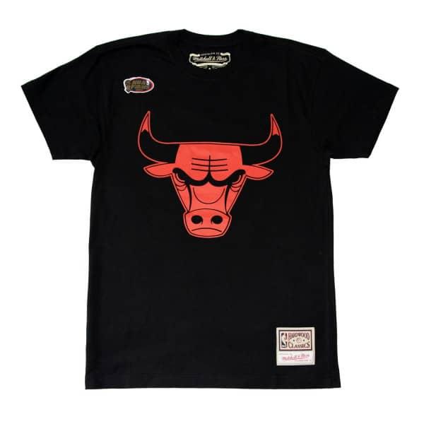 Chicago Bulls Neon Logo Mitchell & Ness NBA T-Shirt Schwarz
