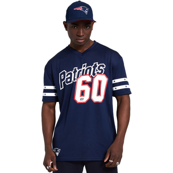 New England Patriots #60 New Era Stripe Oversized Mesh NFL Fantrikot