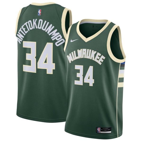 Giannis Antetokounmpo #34 Milwaukee Bucks Nike Icon Swingman NBA Trikot Grün