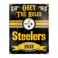 Pittsburgh Steelers Obey The Rules Embossed NFL Metallschild