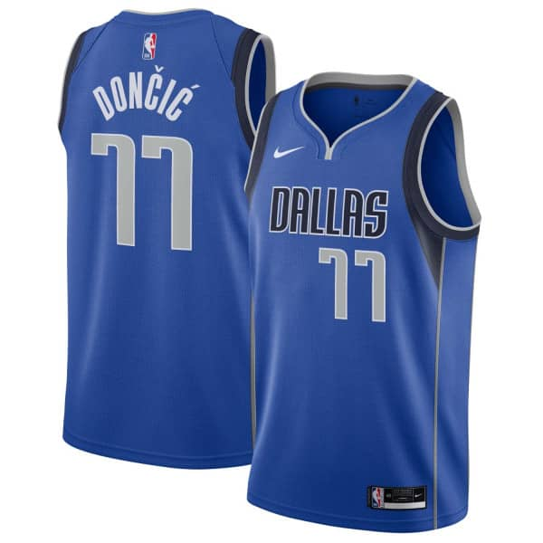 the best attitude 490e4 51603 Luka Dončić #77 Dallas Mavericks Icon Swingman NBA Jersey Blue