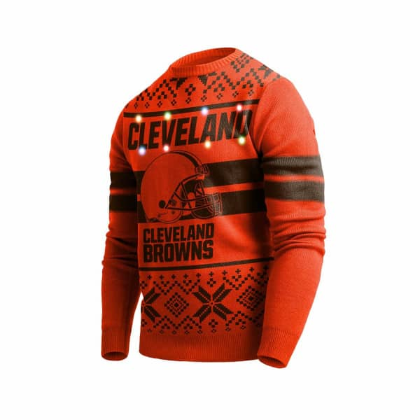 Cleveland Browns 2 Stripe Light Up NFL Ugly Holiday Sweater