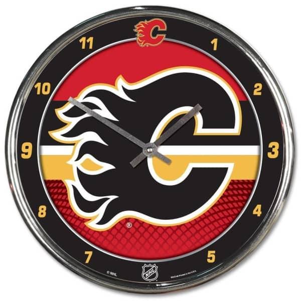 Calgary Flames Chrome NHL Wanduhr