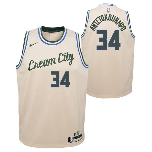 Giannis Antetokounmpo #34 Milwaukee Bucks Youth 2019/20 Cream City Swingman NBA Trikot (KINDER)