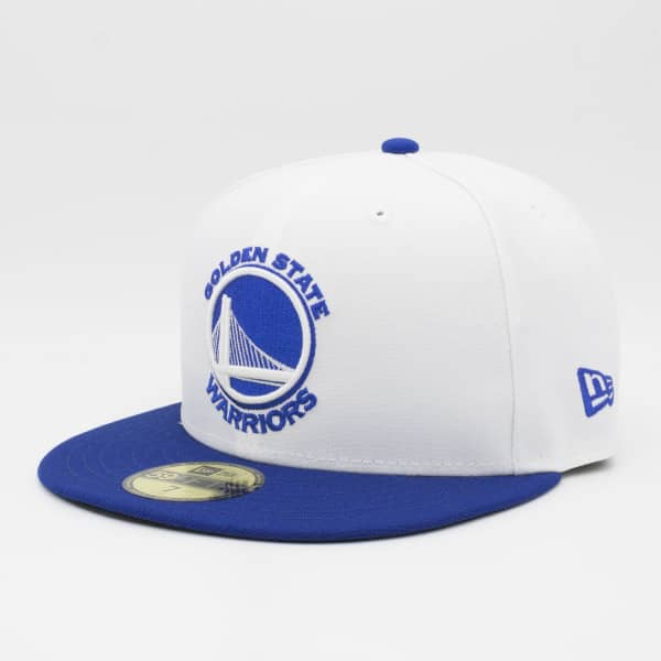 Golden State Warriors White Top 59FIFTY Fitted NBA Cap Weiß/Blau