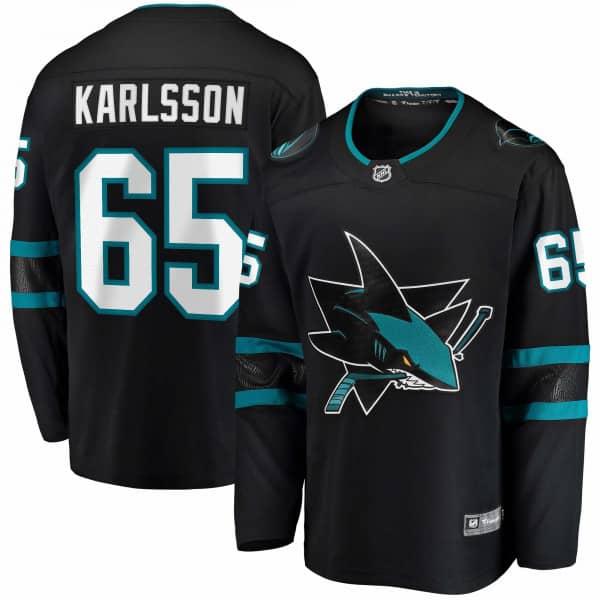 Erik Karlsson #65 San Jose Sharks Fanatics Breakaway NHL Trikot Alternate