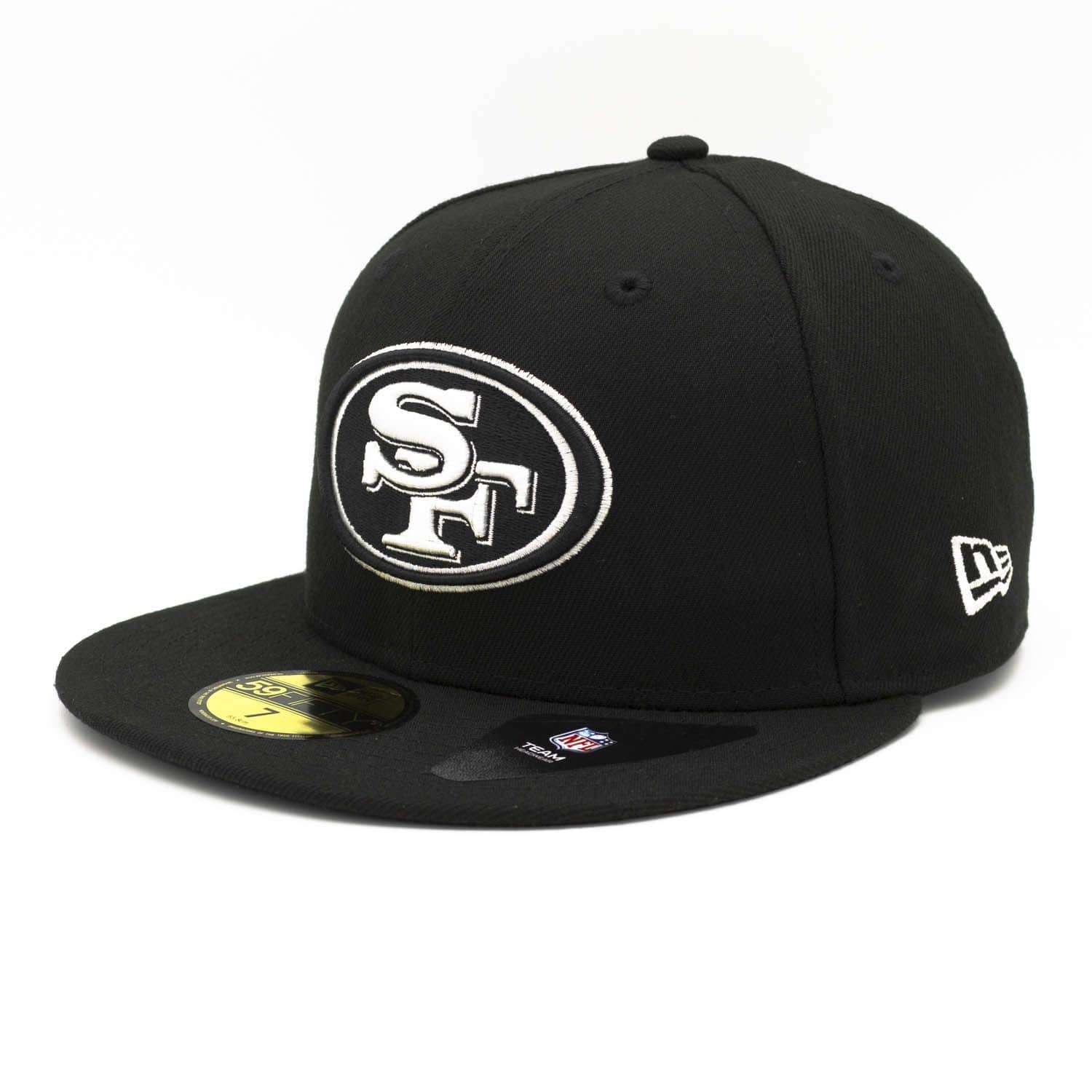 927982248 New Era San Francisco 49ers Black   White 59FIFTY Fitted NFL Cap ...