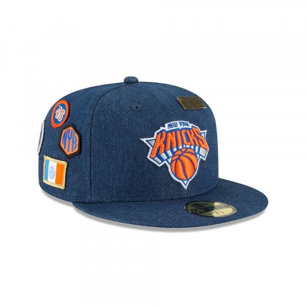 abcdc942f2f14 New Era New York Knicks 2018 NBA Draft 59FIFTY Fitted Cap Blue Denim ...