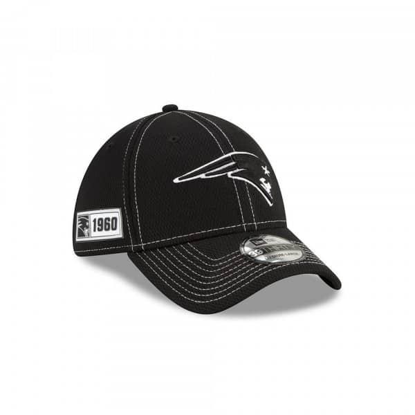 New England Patriots 2019 NFL Sideline Black 39THIRTY Stretch Cap Road