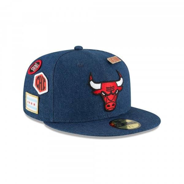 New Era Chicago Bulls 2018 NBA Draft 59FIFTY Fitted Cap Blue Denim ... fb8378a1199