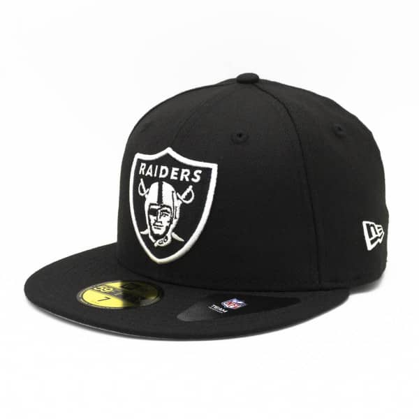 the best attitude e1d67 653e4 New Era Oakland Raiders Black   White 59FIFTY Fitted NFL Cap   TAASS.com  Fan Shop