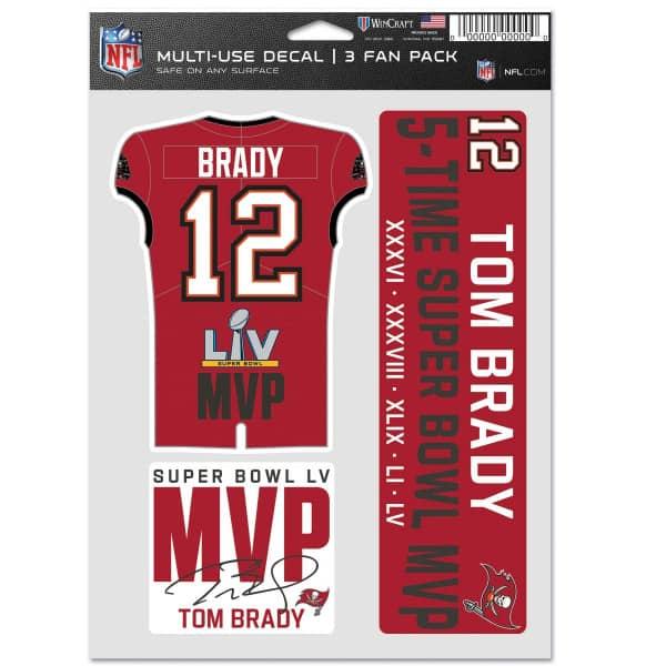Tom Brady 5x Super Bowl MVP NFL Aufkleber-Set (3 Stk.)