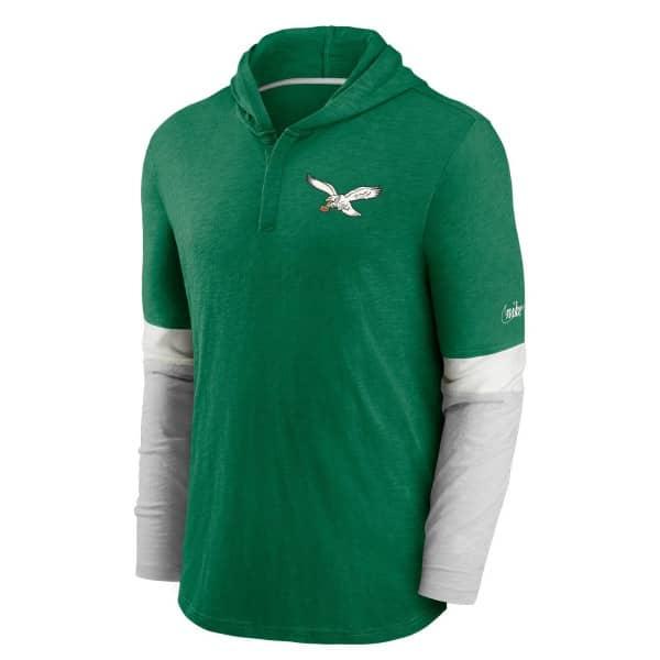 Philadelphia Eagles 1985 NFL Historic Nike Long Sleeve Henley Hoodie