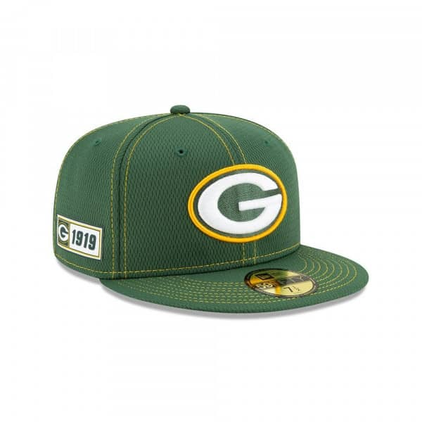 Green Bay Packers 2019 NFL On-Field Sideline 59FIFTY Fitted Cap Road