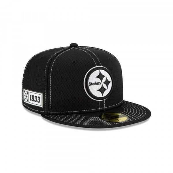 Pittsburgh Steelers 2019 NFL Sideline Black 59FIFTY Fitted Cap Road