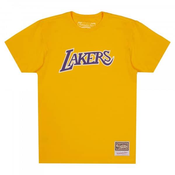 Los Angeles Lakers Worn Logo Mitchell & Ness NBA T-Shirt Gelb