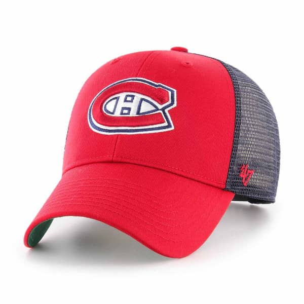 premium selection 84561 c682f  47 Brand Montreal Canadiens Branson NHL Trucker Cap Red   TAASS.com Fan  Shop