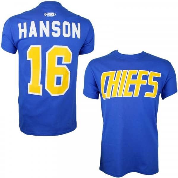 Slapshot Charlestown Chiefs Jack Hanson #16 Eishockey T-Shirt Blau