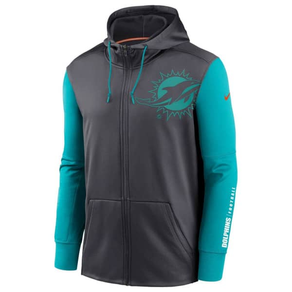 Miami Dolphins 2020 NFL Big Logo Nike Therma Full-Zip Hoodie