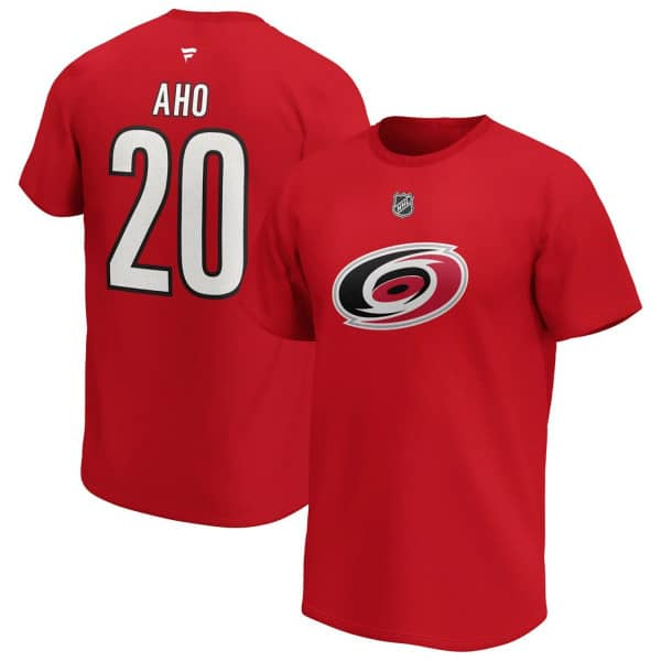 Sebastian Aho #20 Carolina Hurricanes Fanatics Player NHL T-Shirt Rot