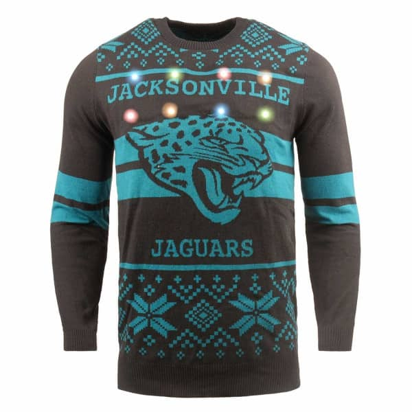 Jacksonville Jaguars 2 Stripe Light Up NFL Ugly Holiday Sweater