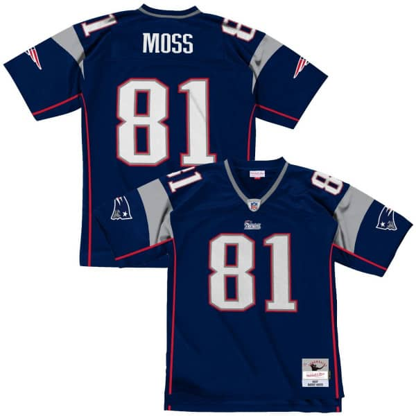 Randy Moss #81 New England Patriots Mitchell & Ness Legacy Throwback NFL Trikot Navy