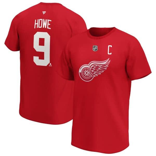 Gordie Howe #9 Detroit Red Wings Alumni Fanatics NHL T-Shirt Rot