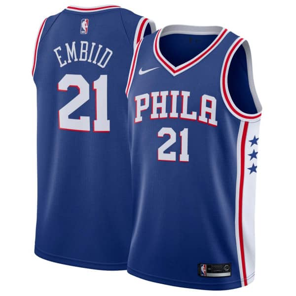 Joel Embiid #21 Philadelphia 76ers Icon Swingman NBA Trikot Blau