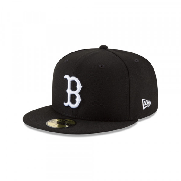 Boston Red Sox Black & White 59FIFTY Fitted MLB Cap