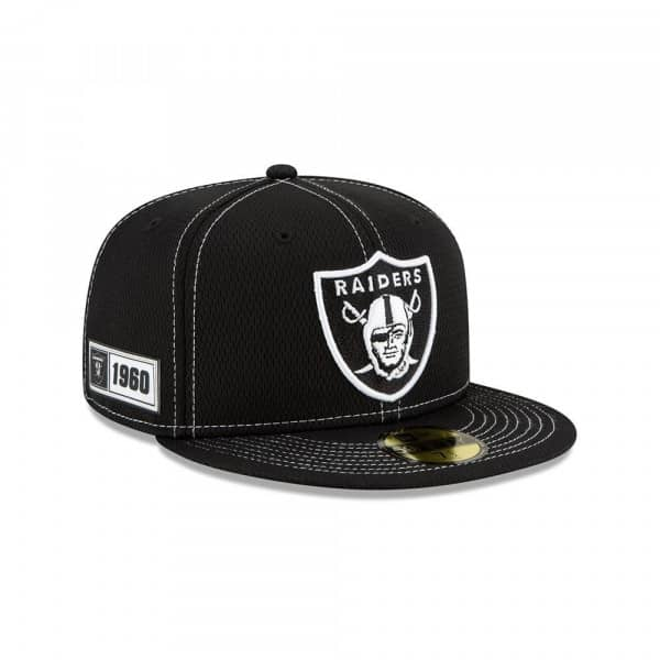 Oakland Raiders 2019 NFL Sideline Black 59FIFTY Fitted Cap Road