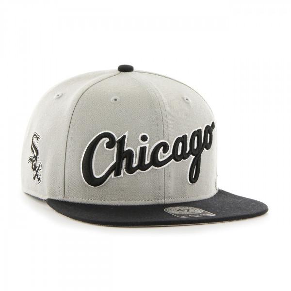 san francisco 34351 d4df6  47 Brand Chicago White Sox Script Side Snapback MLB Cap Grey Black   TAASS.com  Fan Shop