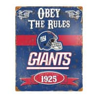 New York Giants Obey The Rules Embossed NFL Metallschild