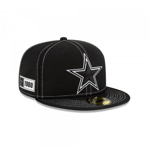 Dallas Cowboys 2019 NFL Sideline Black 59FIFTY Fitted Cap Road
