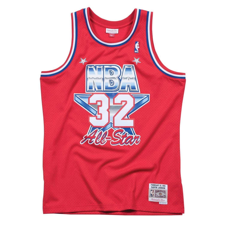 dc7619535 Mitchell   Ness Magic Johnson  32 1991 All-Star West Swingman NBA Jersey  Red