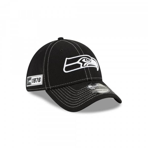 Seattle Seahawks 2019 NFL Sideline Black 39THIRTY Stretch Cap Road