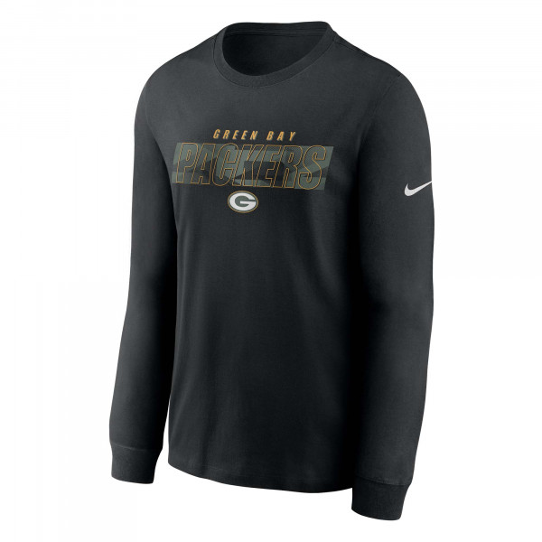 Green Bay Packers Playbook Nike Long Sleeve NFL Shirt Schwarz
