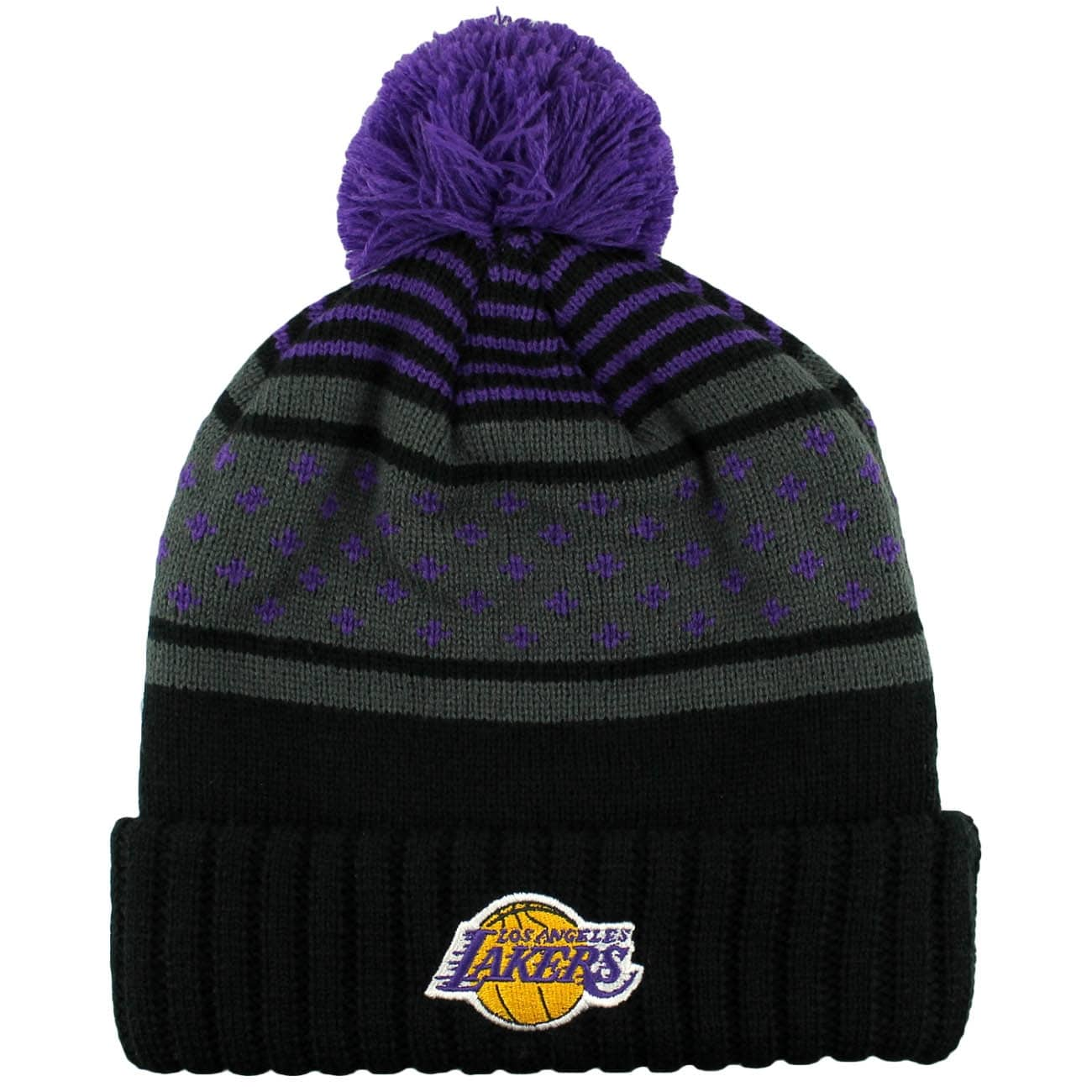 8853602be82 Mitchell   Ness Los Angeles Lakers Highlands 2.0 NBA Knit Hat  w Pom ...