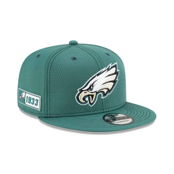 Philadelphia Eagles 2019 NFL On-Field Sideline 9FIFTY Snapback Cap Road