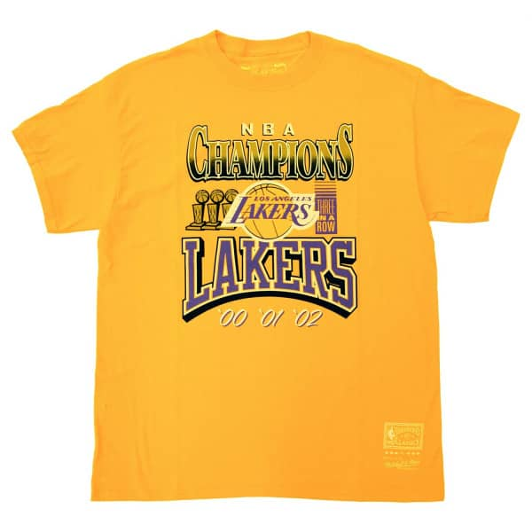Los Angeles Lakers 3x Champions Mitchell & Ness NBA T-Shirt Gelb