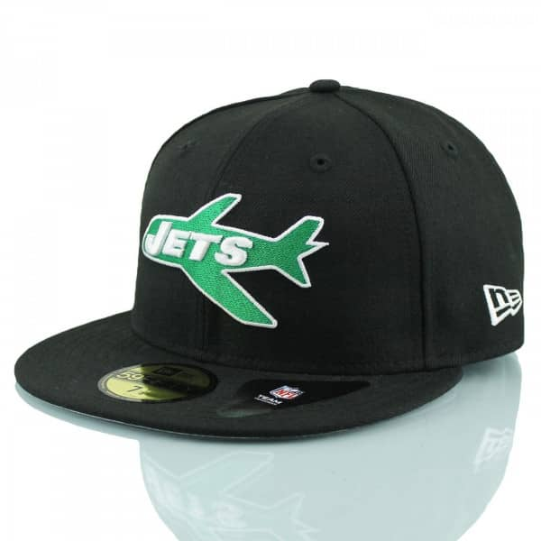 buy online 91ad6 d7466 New Era New York Jets Throwback 59FIFTY Fitted NFL Cap Black   TAASS.com  Fan Shop