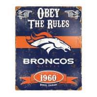 Denver Broncos Obey The Rules Embossed NFL Metallschild